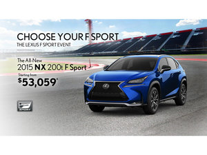 Drive the all-new 2015 Lexus NX 200t F Sport starting from $53,059