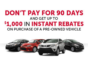 Get up to $1,000 in Instant Rebate and No Payment for 90 Days