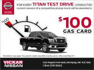 Test Drive a Titan, Get a $100 Gas Card!