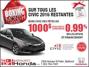 Obtenez la Honda Civic 2016 aujourd'hui!