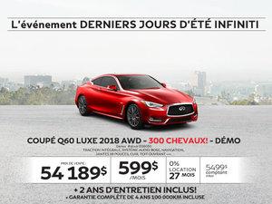 COUPÉ Q60 LUXE 2018 AWD 300 CHEVAUX! Démos