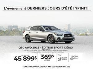 Q50 AWD 2018 – Édition SPORT  Démo