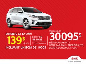 Sorento LX TA 2019 - Seulement 139$ aux deux semaines!