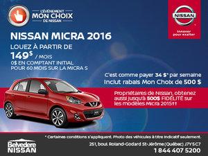 Nissan Micra 2016 en location!
