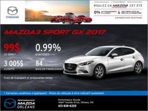 Financez une Mazda 3 Sport GX 2017 aujourd'hui! chez Performance Mazda à Ottawa