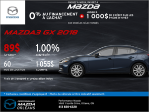 Obtenez une Mazda 3 GX 2018 aujourd'hui! chez Performance Mazda à Ottawa