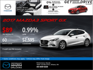 Lease the 2017 Mazda3 Sport GX Today!