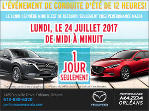 Vente de dernière minute du lundi chez Performance Mazda à Ottawa