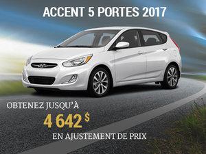 Jusqu'à 4 642$ en ajustement de prix pour roulez en Hyundai Accent 5 portes 2017 chez Groupe Vincent à Shawinigan et Trois-Rivières