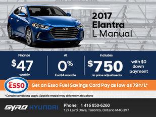 Get the All-New 2017 Hyundai Elantra L Today!