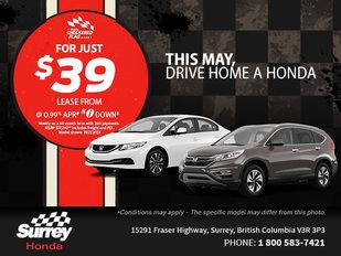 This May, drive home a new Honda!