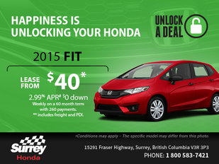 Get a brand-new 2015 Honda Fit today!