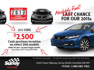 Get a brand-new 2015 Honda Civic today!