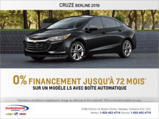 Obtenez la Chevrolet Cruze Berline 2019