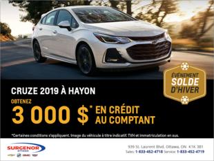 Obtenez le Chevrolet Cruze à hayon 2019