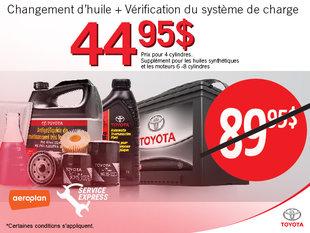 Changement d'huile + Vérification du système de charge pour 44.95$