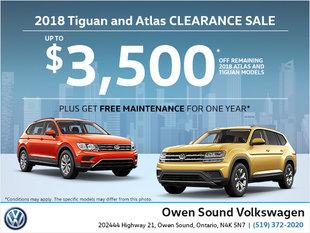 2018 Tiguan and Atlas Clearance sale