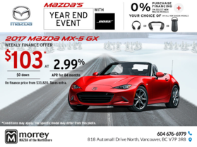 Drive Home a 2017 Mazda MX-5 Today!