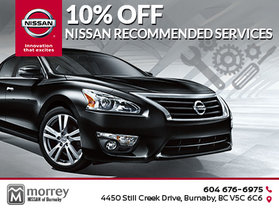 10% off Nissan recommended services