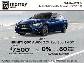 Great Savings on the 2017 Infiniti Q50 AWD 3.0T Red Sport 400
