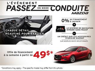 L'événement passez en mode conduite Mazda