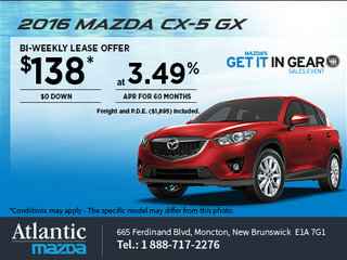 Lease the 2016 Mazda CX-5 GX from $138