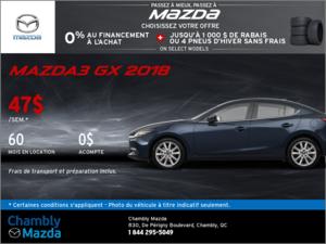 Louez la Mazda3 GX 2018 dès aujourd'hui!
