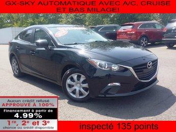 Mazda Mazda3 2014 GX-SKY AUTOMATIQUE AVEC A/C, CRUISE ET BAS MILAGE!