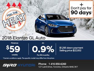 Get the 2018 Hyundai Elantra GL Today!