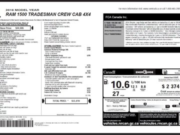 2016 Dodge RAM 1500 Tradesman 3.0L 6 CYL ECODIESEL 4X4 CREW CAB