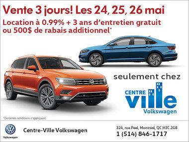 Incroyable Vente 3 jours ! Seulement chez Centre-Ville Volkswagen