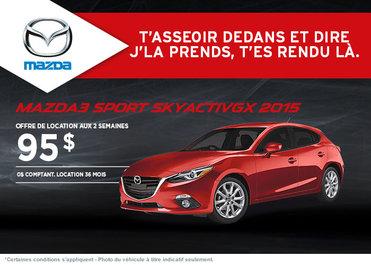 La Mazda 3 sport 2015 à la location à partir de 95$ aux 2 semaines