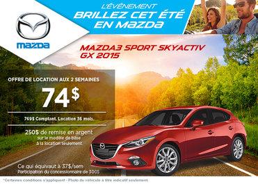 La Mazda 3 sport 2015 à la location à partir de 74$ aux 2 semaines