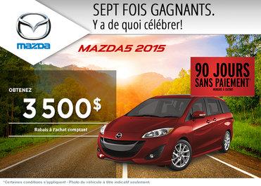 Achetez le Mazda5 2015 avec un rabais de 3500$