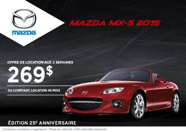 Louez la Mazda MX-5 2015 à partir de 269$ aux 2 semaines