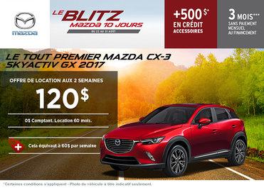 Louez le Mazda CX-3 2017 à partir de 120$ aux deux semaines