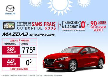 La toute nouvelle Mazda3 2016 en location à partir de 38$ / semaine
