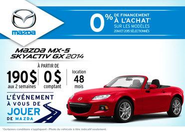 Louez la Mazda MX-5 2014 à partir de 190$ aux 2 semaines