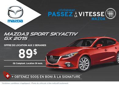La Mazda 3 sport 2015 à la location à partir de 89$ aux 2 semaines