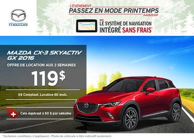 Louez le Mazda CX-3 2016 à partir de 119$ aux deux semaines