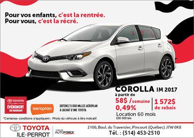 La Corolla iM 2017 en rabais!