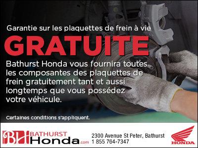 Garantie sur les plaquettes de frein à vie gratuite!