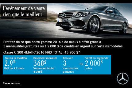 Mercedes-Benz Classe C 300 2016 à 368$ par mois