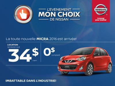 L'événement Mon choix de Nissan - Micra 2016