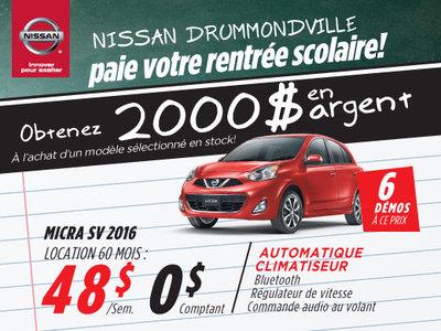 La Nissan Micra 2016 à petit prix chez Drummondville