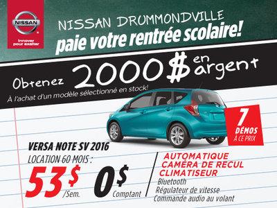 La liquidation top chrono de Nissan:  Versa Note 2016 chez Drummondville