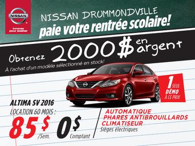 La liquidation top chrono de Nissan: Altima 2016 chez Drummondville
