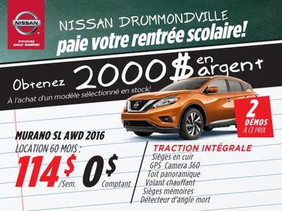 La liquidation top chrono de Nissan: Murano 2016 chez Drummondville