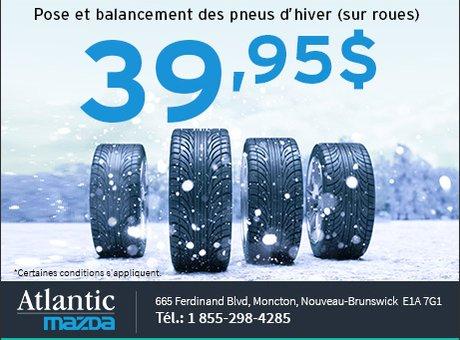 Pose et balancement des pneus d'hiver pour 39,95$