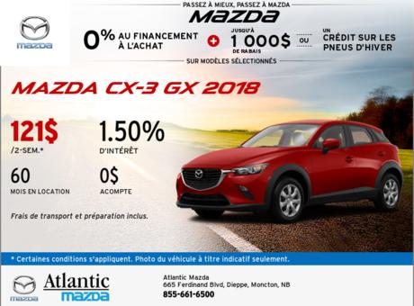 La Mazda CX-3 GX 2018 en rabais!